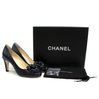 Chanel Leather Navy Camellia Round Toe Pumps