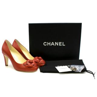 Chanel Leather Red Camellia Round Toe Pumps