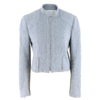Christian Dior Blue Wool-blend Cropped Jacket