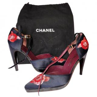 Chanel Black Satin Floral Embellished Sandals