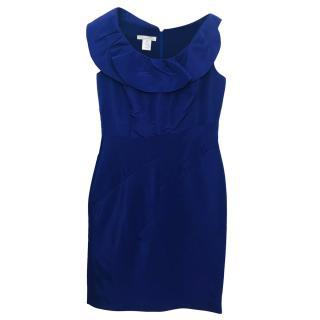 Oscar De La Renta Blue Ruffle Neck Dress