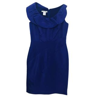 Oscar De La Renta Blue Ruffle Neck Dress