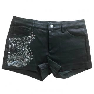 Iro Embellished Leather Mini Shorts
