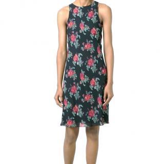 Saint Laurent Black & Red Rose Print Shift Dress