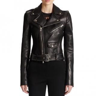 Alexander McQueen leather studded asymmetric biker jacket