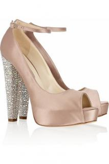 Brian Atwood Swarovski Embellished Blush Satin Sandals