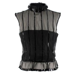 Chanel Black Sequin Embellished High Neck Sheer Top