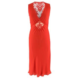 Valentino Red Lace Panelled Silk Blend Dress