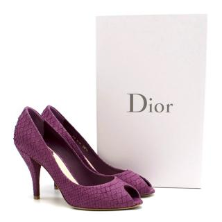 Dior Violet 'Miss Dior' Python Embossed Peep Toe Pumps