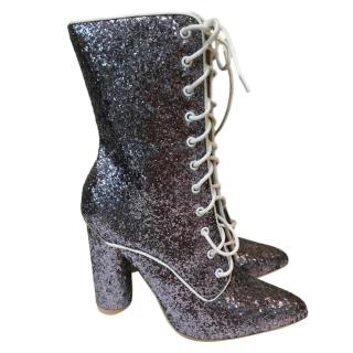 Sergio Rossi Silver Glitter Lace-Up Booties