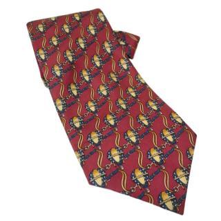 Fendi Red Silk Printed Tie