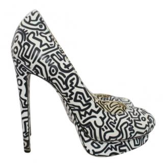 Keith Harring x Nicholas Kirkwood Printed Platform Pumps