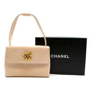 Chanel Beige Vintage Sculpted Gold Camellia Mini Flap Bag
