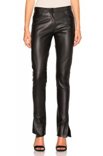 Loewe Slit Cuff Leather Trousers in Black