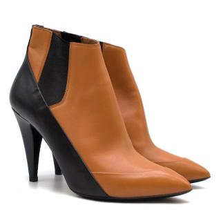 Balenciaga Brown Leather Heeled Two-tone Ankle Boots