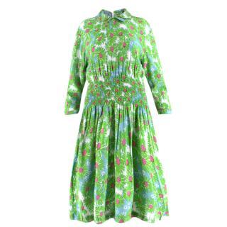 Prada Green Floral Print Stretch Waist Summer Dress