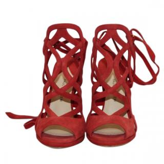 Paul Andrews red suede lace up sandals