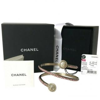 Chanel Pewter & Pink Leather Chain Wrap Arm Bracelet