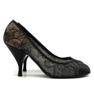 Chanel Lace And Satin Cap Toe Pumps
