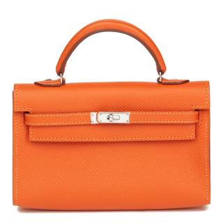 Hermes Epsom Leather Orange Tiny Kelly Bag