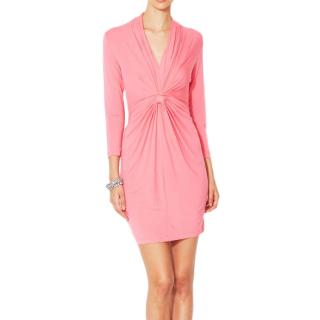 Catherine Malandrino jersey pink gathered dress
