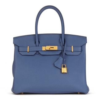 Hermes Togo Leather Brighton Blue 30cm Birkin