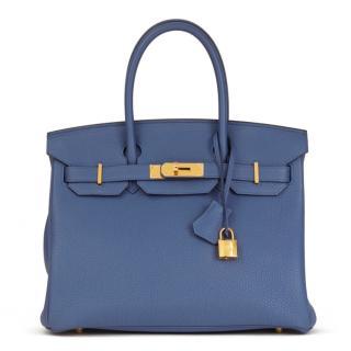 0baaa7dc8 Hermes Togo Leather Brighton Blue 30cm Birkin