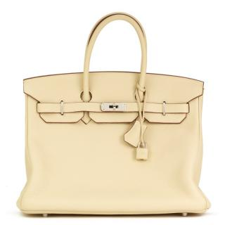 Hermes Clemence Leather Parchemin 35cm Birkin Bag