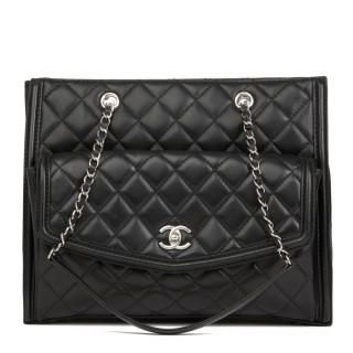 Chanel Quilted Leather Black Tote Bag