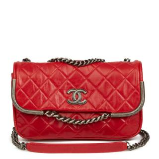 Chanel Red Aged Leather Chain Flap Bag