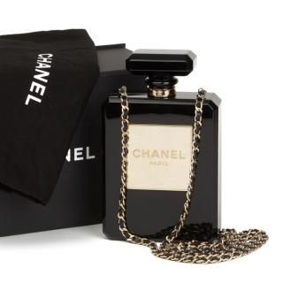 Chanel Black Plexiglass No. 5 Perfume Bottle Bag