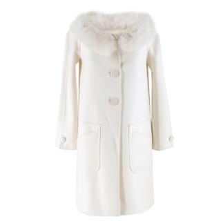 Valentino Off-White Double-faced Wool Blend Fur Coat