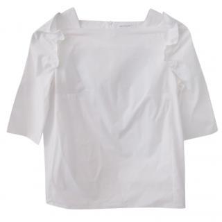Carven ruffle-shoulder cotton top