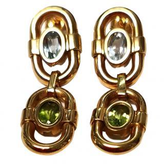 Bespoke vintage peridot & blue topaz earrings