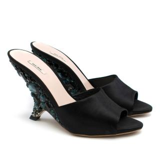 Miu Miu Black Crystal Embellished Wedge Mules