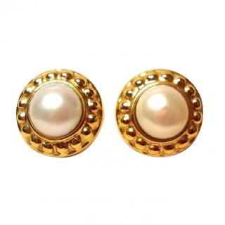 Bespoke vintage pearl gold earrings