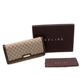 Celine Brown Monogram Logo Canvas Wallet