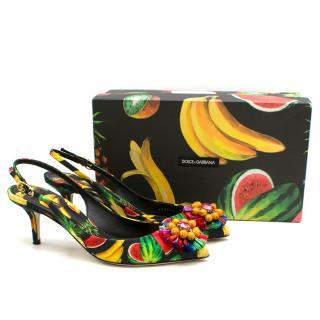 Dolce & Gabbana Tropical Print Slingback Kitten Heel Sandals
