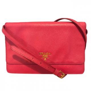 Prada Saffiano Leather Pink Shoulder Bag