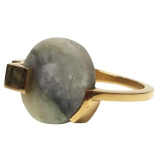 Marion Vidal Gold Tone Marble Stack Ring