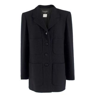 Chanel Boutique Black Wool-blend Double Crepe Coat