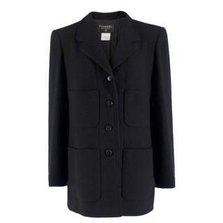544d0597707 Chanel Boutique Black Wool-blend Double Crepe Coat