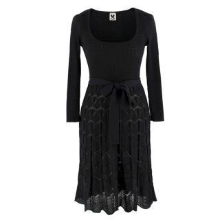 Missoni Black Crotchet Knit-Patterned Stretch Rope Dress