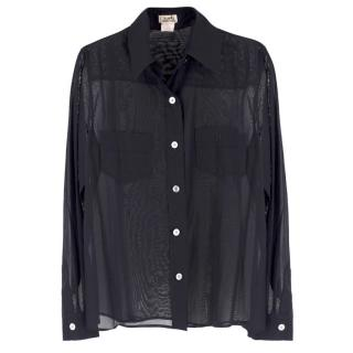 Hermes Black Sheer Classic Shirt