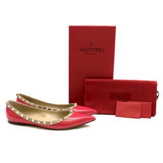 Valentino Pink Patent Rockstud Point-toe Flats