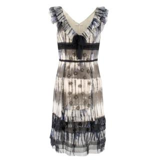 Prada Multicoloured Silk Sequin Frill Dress