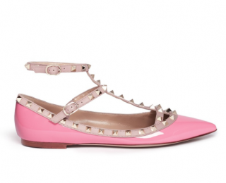 Valentino Rockstud Patent Leather Caged Flats