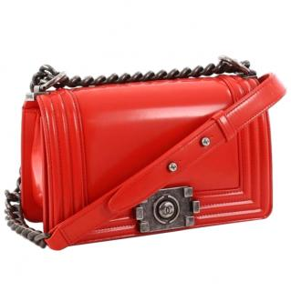 Chanel Red Glazed Calfskin Reverso Boy Flap Bag
