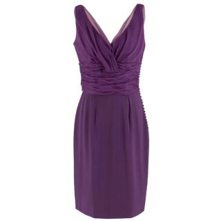 Christian Dior Purple Pleated Draped Dress