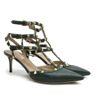 Valentino T-bar green leather rockstud sandals